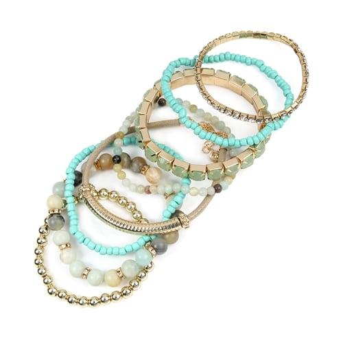 Amazonite Stackable Beads Bracelet Set - Amazonite  - Back