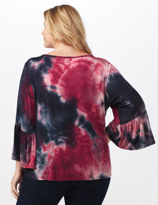 Westport Tie Dye Knit Top - Plus - Red/Black - Back