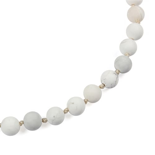 White Natural Stones Necklace - White  - Back