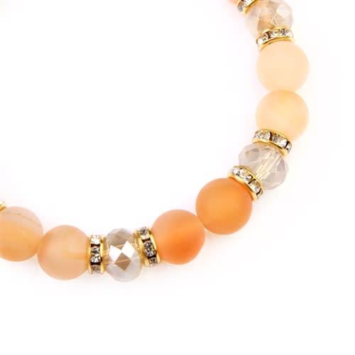 Beige Rondelle Glass Beads Stretch Bracelet - Beige - Back