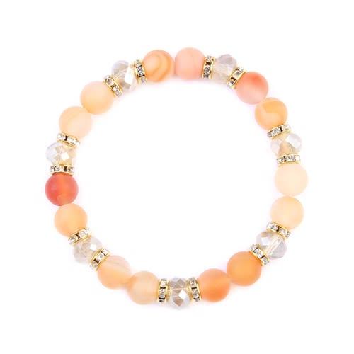 Beige Rondelle Glass Beads Stretch Bracelet - Beige - Front