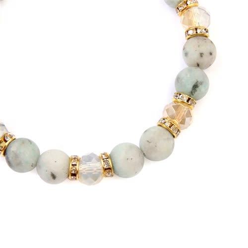 Light Gray Rondelle Glass Beads Stretch Bracelet - Gold / White - Back