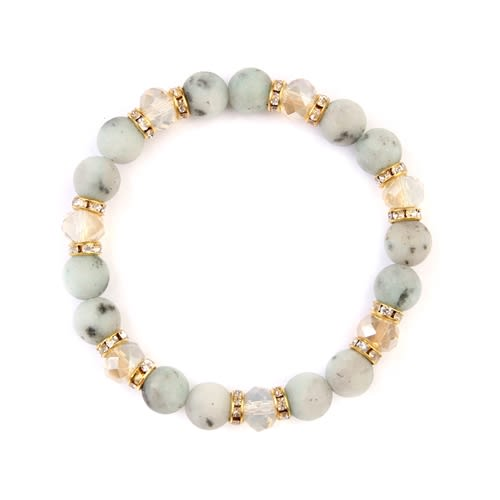 Light Gray Rondelle Glass Beads Stretch Bracelet - Gold / White - Front