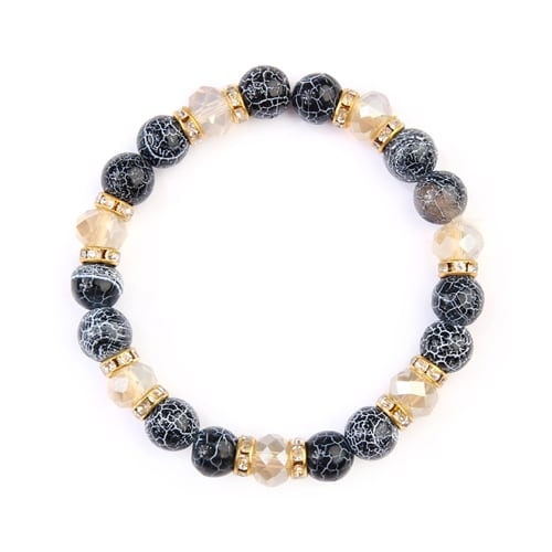 Black Rondelle Glass Beads Stretch Bracelet - Black - Front
