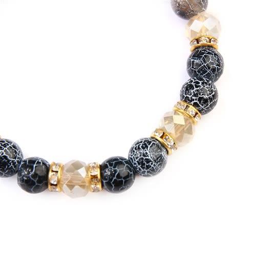 Black Rondelle Glass Beads Stretch Bracelet - Black - Back
