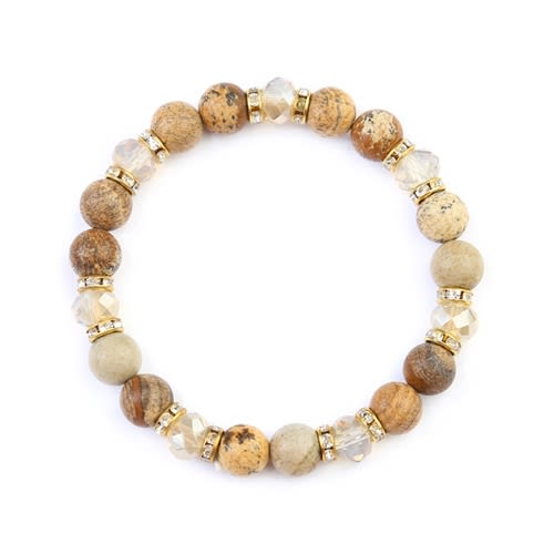 Brown Rondelle Glass Beads Stretch Bracelet - Brown - Front