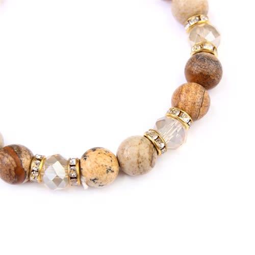 Brown Rondelle Glass Beads Stretch Bracelet - Brown - Back