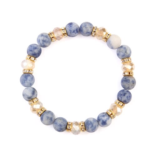 Blue x White Rondelle Glass Beads Stretch Bracelet - Blue / White - Front