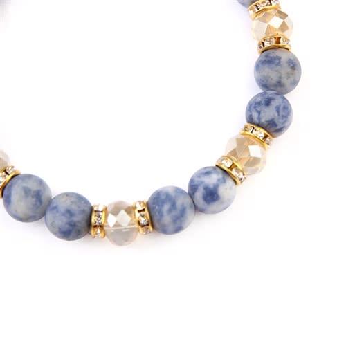 Blue x White Rondelle Glass Beads Stretch Bracelet - Blue / White - Back