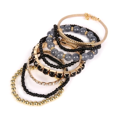 Black Meets Gold Beaded Stretch Bracelet - Black - Back