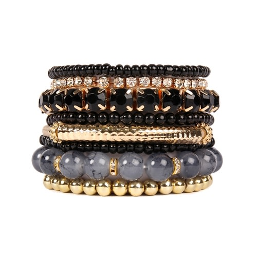 Black Meets Gold Beaded Stretch Bracelet - Black - Front
