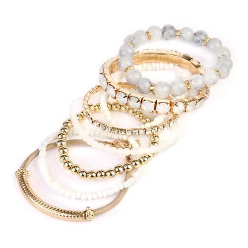 Icy Beaded Stretch Bracelet - Gold / White - Back