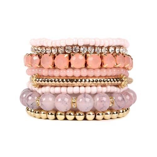 Pink Multi-Color Beaded Stretch Bracelet - Pink - Front