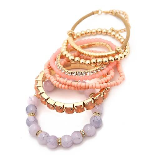 Pink Multi-Color Beaded Stretch Bracelet - Pink - Back