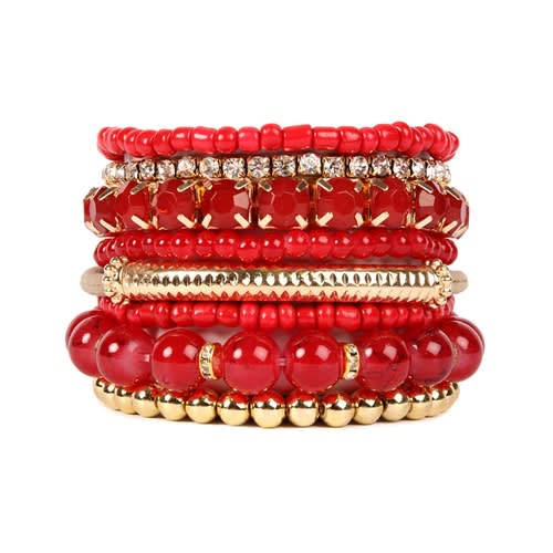 Fierce Red Beaded Stretch Bracelet - Red - Front