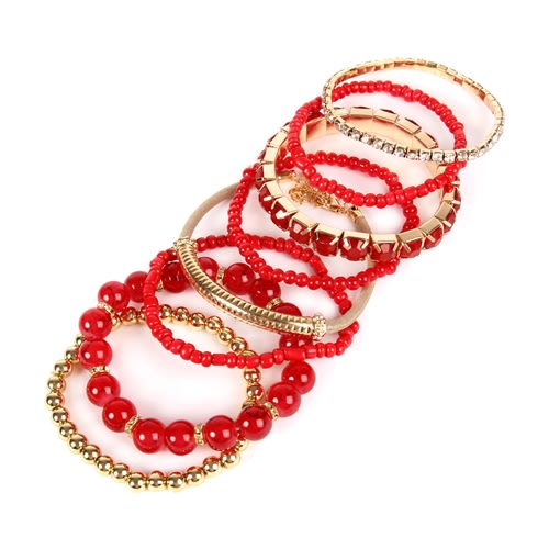 Fierce Red Beaded Stretch Bracelet - Red - Back