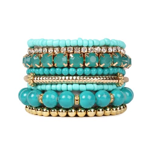 Turquoise Beaded Stretch Bracelet - Turquoise - Front