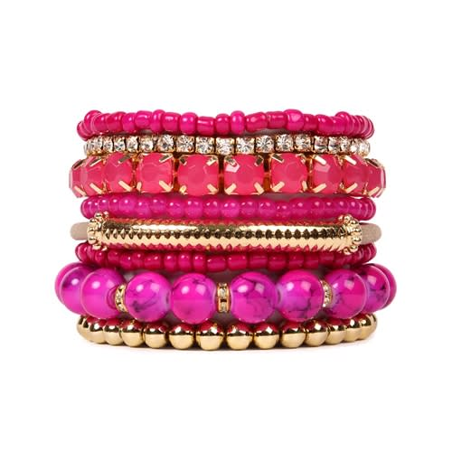 Bold Fuchsia Beaded Stretch Bracelet - Pink - Front