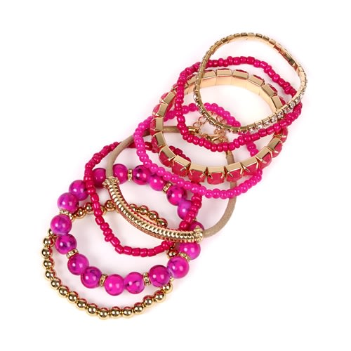 Bold Fuchsia Beaded Stretch Bracelet - Pink - Back