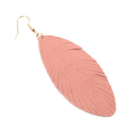 Pink Fringe Leaf Leather Drop Earrings - Pink - Back