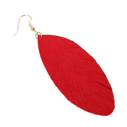 Red Fringe Leaf Leather Drop Earrings - Red - Back