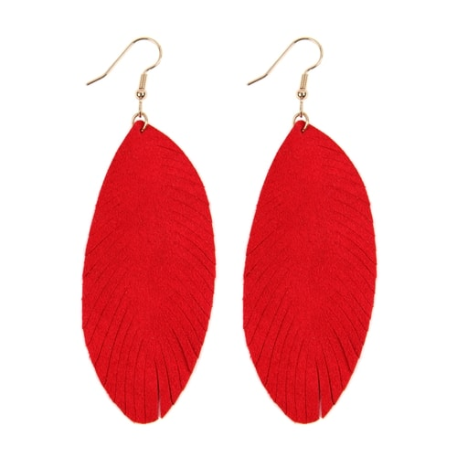 Red Fringe Leaf Leather Drop Earrings - Red - Front