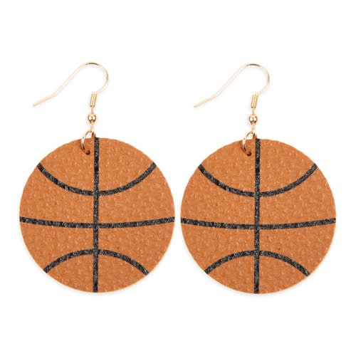 Basketball Leather Drop Earrings - Brown - Front