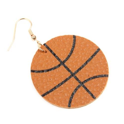 Basketball Leather Drop Earrings - Brown - Back