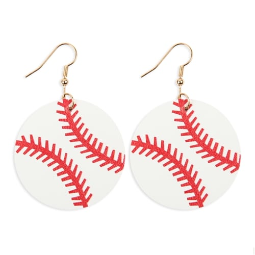 Baseball Sports Round Drop Earrings - White - Front
