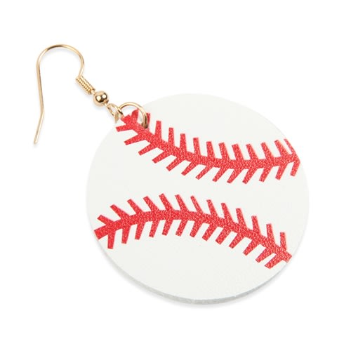 Baseball Sports Round Drop Earrings - White - Back