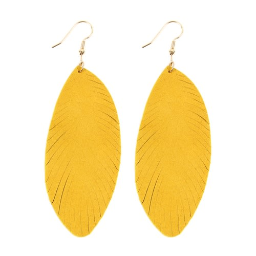 Yellow Fringe Leaf Leather Drop Earrings - Yellow - Front