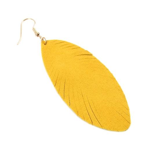 Yellow Fringe Leaf Leather Drop Earrings - Yellow - Back