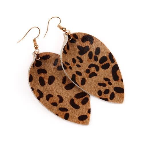 Leopard Leather Drop Earrings - Brown - Back