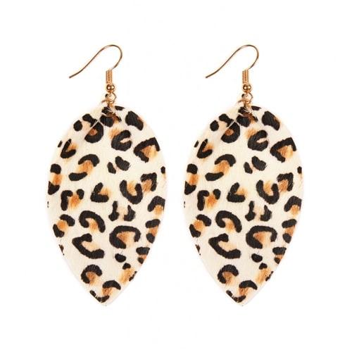 Leopard Leather Drop Earrings - White - Front