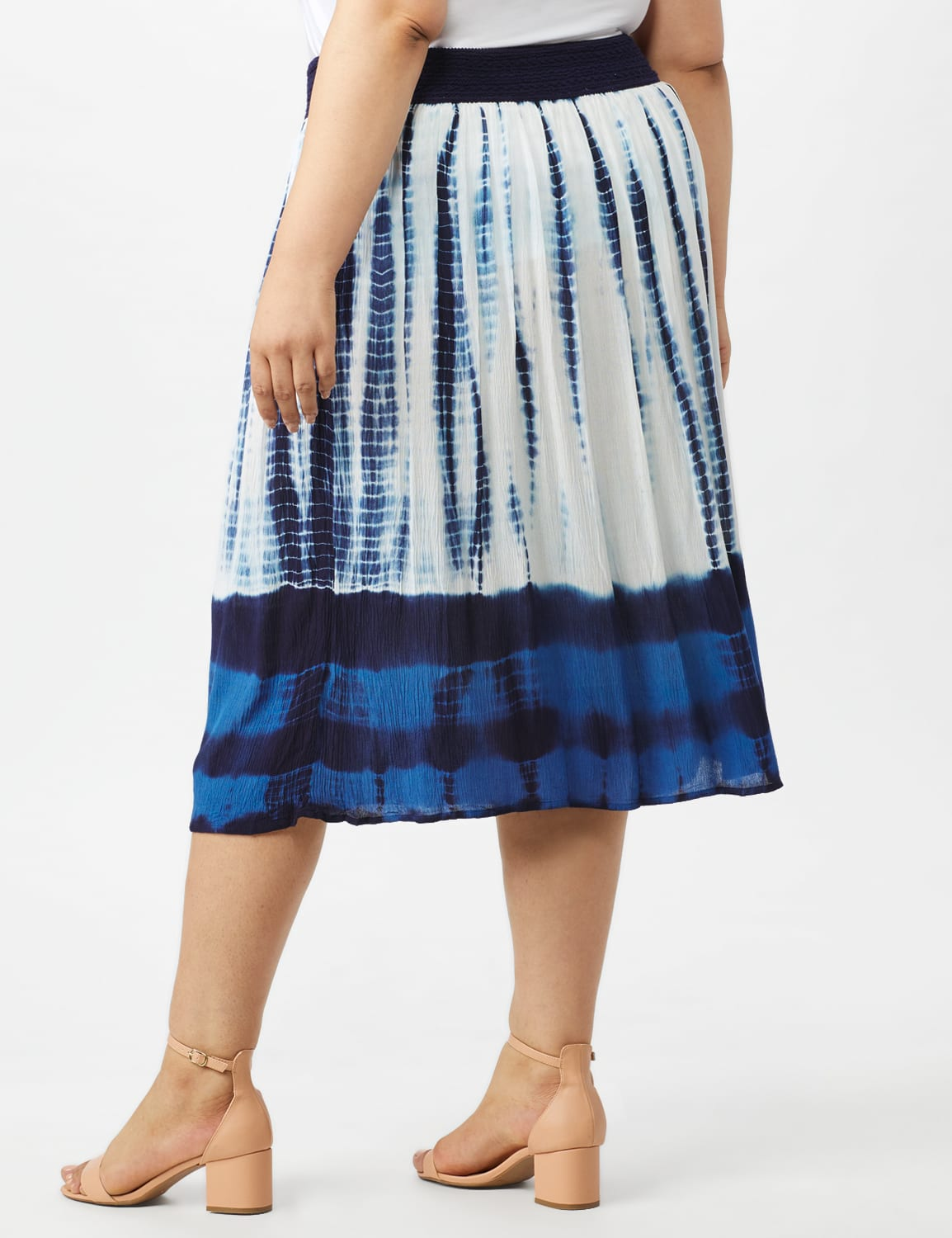 Rayon Gauze Pull On Skirt with Decorative Waistband - Blue/white - Back