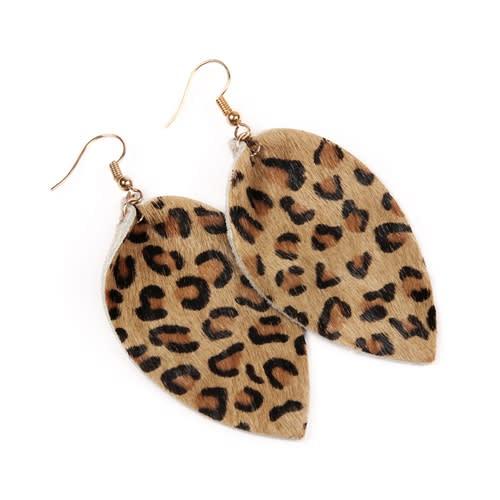 Leopard Leather Drop Earrings - Light Brown - Back
