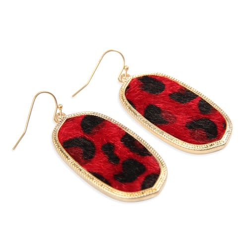 Red Leopard Print Drop Earrings - Red - Front