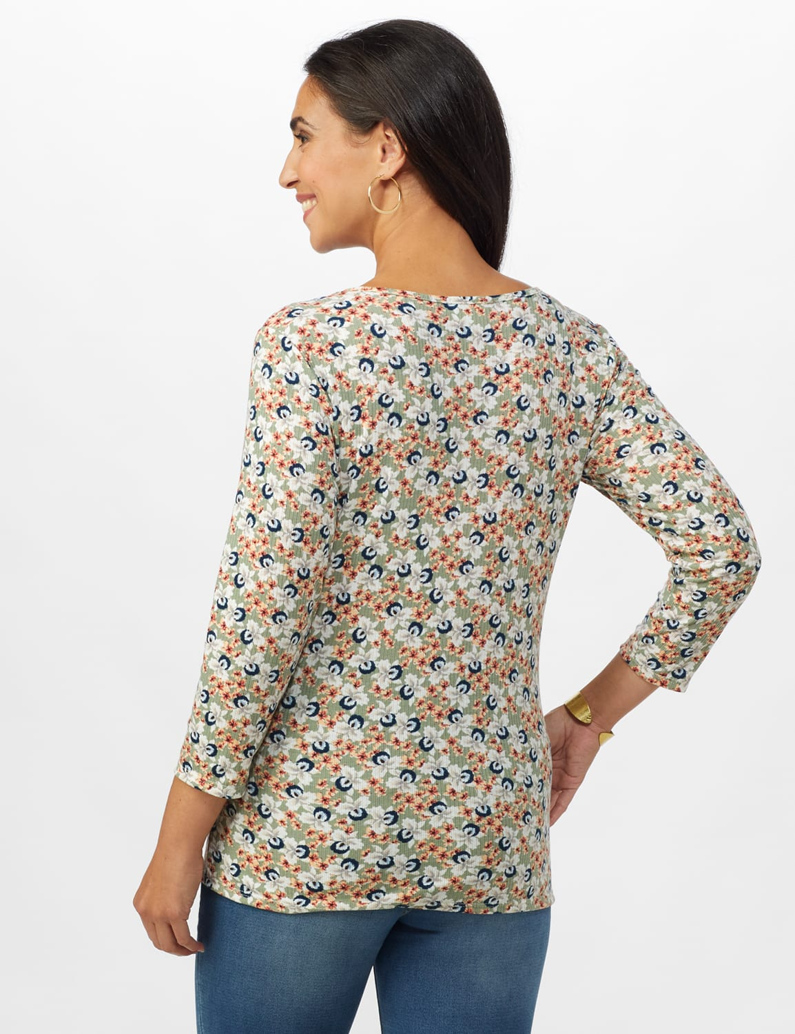 Small Floral Tie Front Knit Top - Sage/Peach - Back
