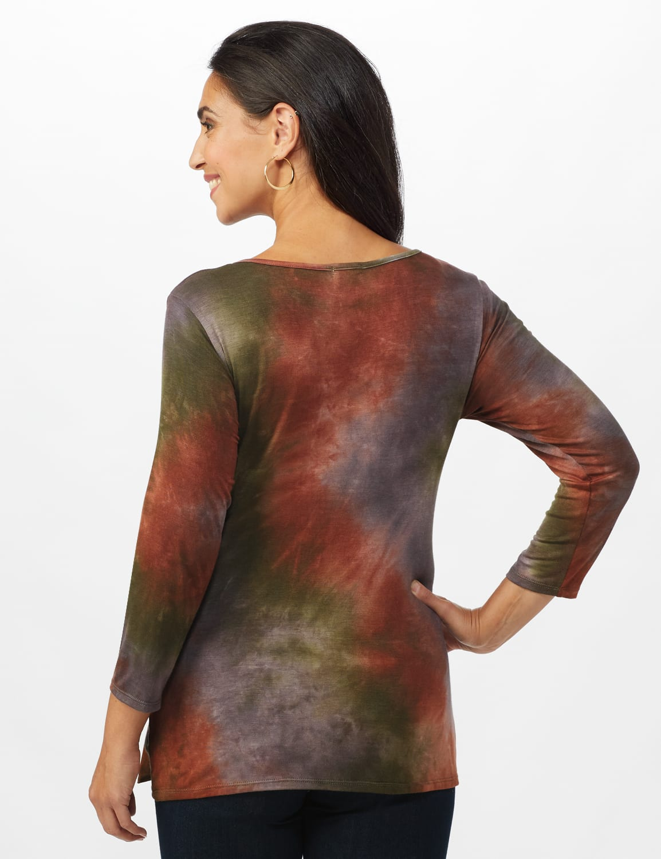 Multi Color Tie Dye Knit Top - Misses - Green/Rust - Back