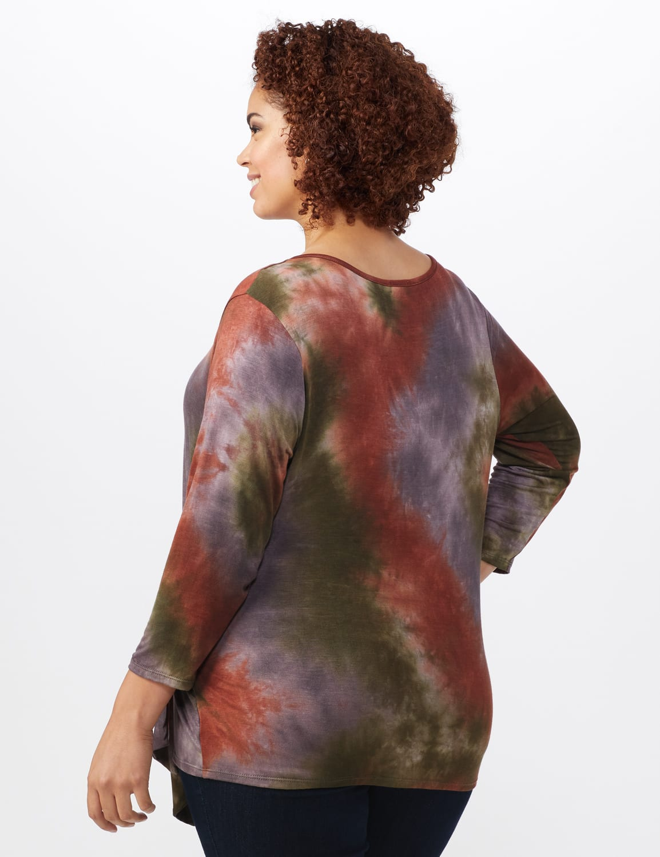 Multi Color Tie Dye Knit Top - Plus - Green/Rust - Back
