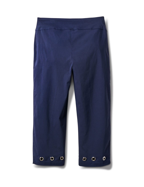 Pull On Crop Pant with Hem Grommet Detail - Navy Blazer - Back