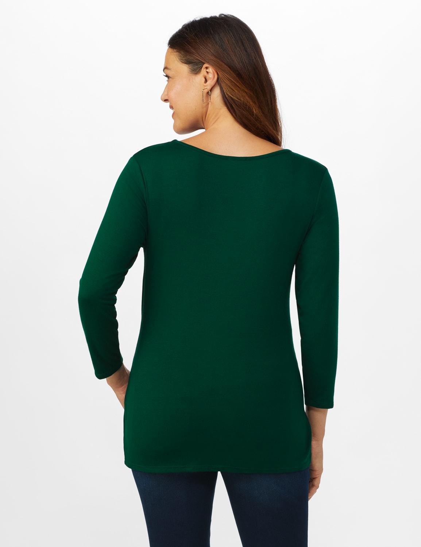V-Neck Tie Front Knit Top - Misses - Hunter Green - Back