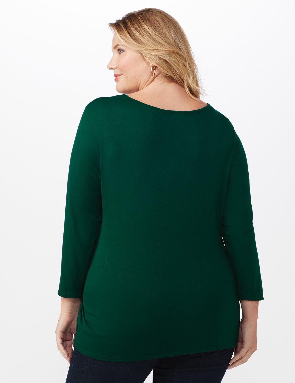 V-Neck Tie Front Knit Top - Plus - Hunter green - Back
