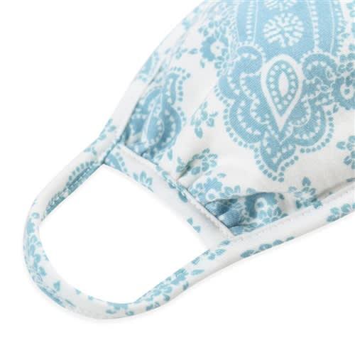 Paisley Bandana Fashion Face Mask - Blue/White - Back