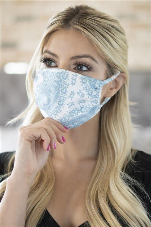 Paisley Bandana Fashion Face Mask - Blue/White - Detail