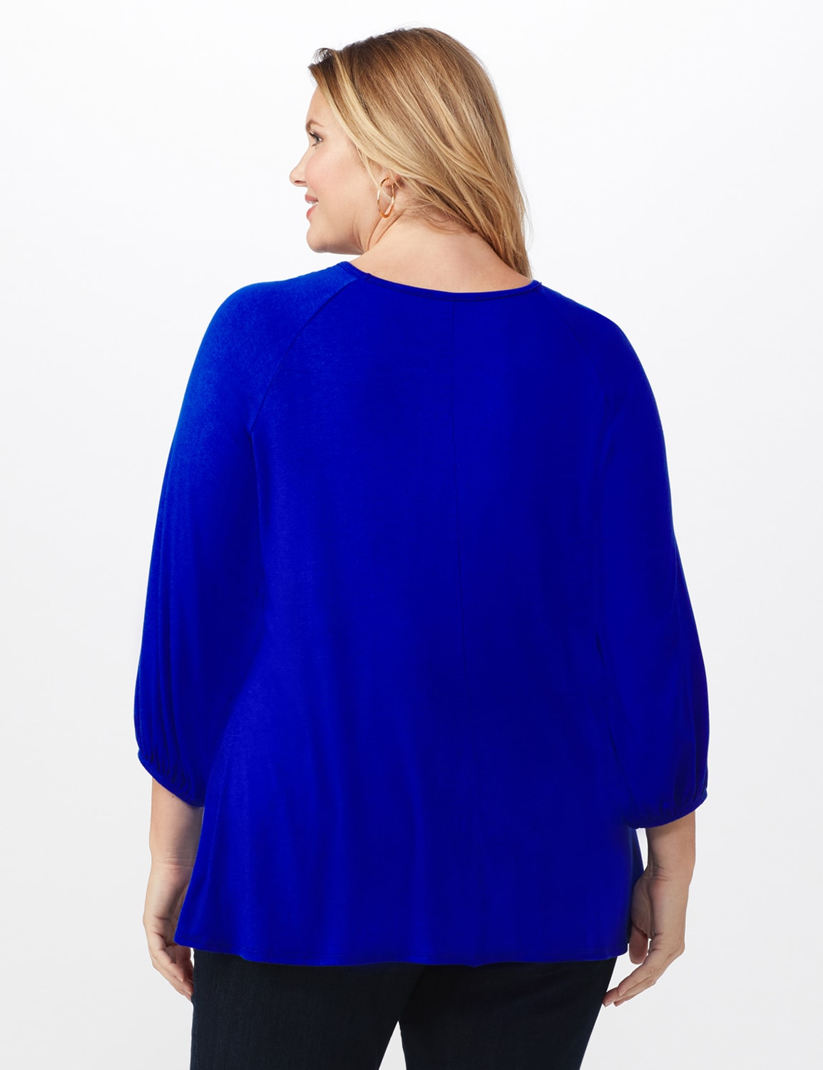 3/4 Sleeve Twist Cut Out Neck Top - Plus - DK Royal - Back