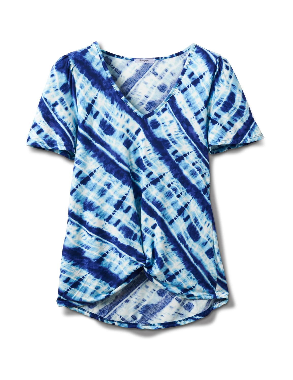 Bias Tie Dye Knot Front Knit Top - Misses - Blue - Front