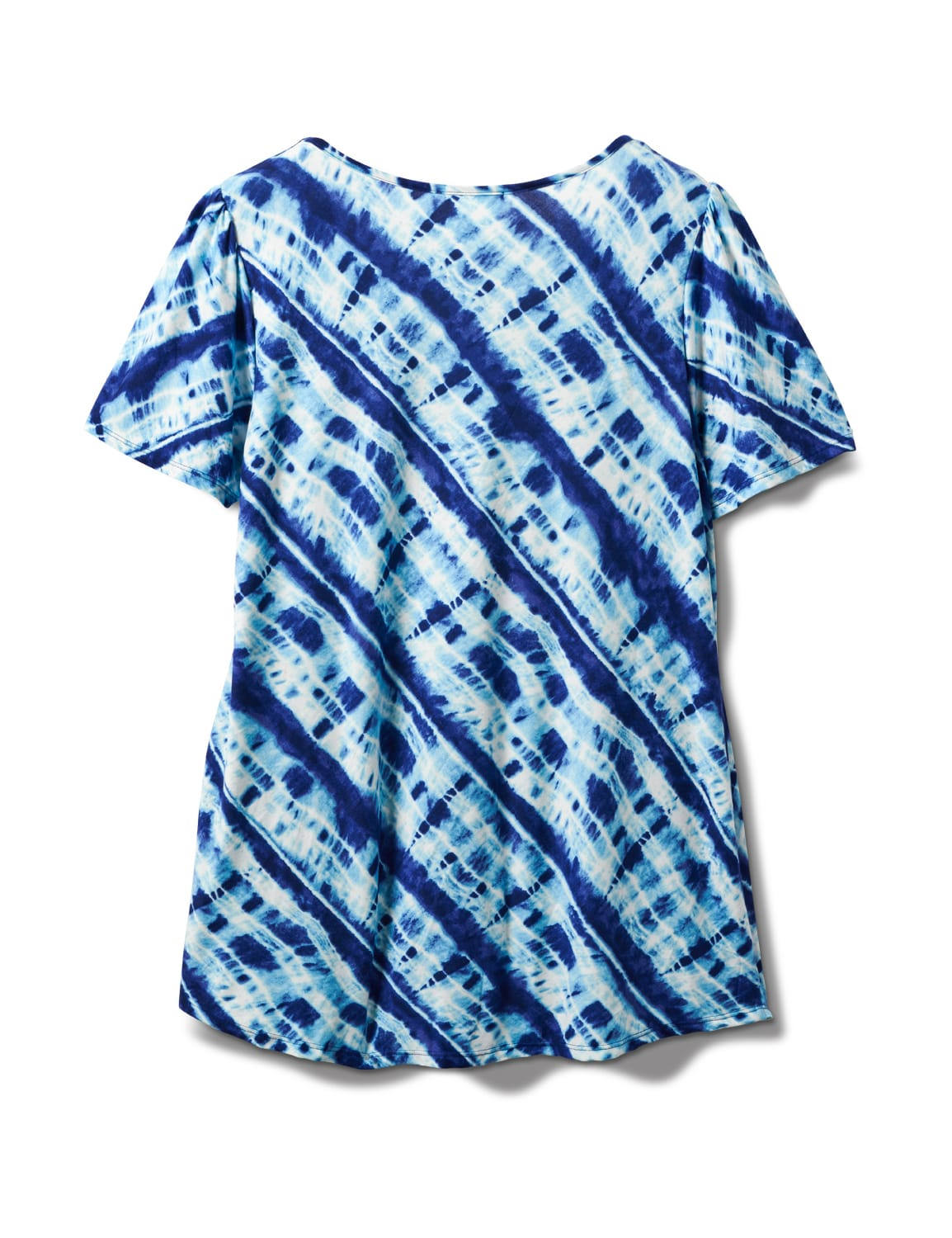 Bias Tie Dye Knot Front Knit Top - Plus - Blue - Back
