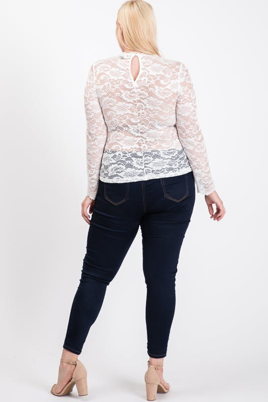 Outgoing Lace Top - White - Back