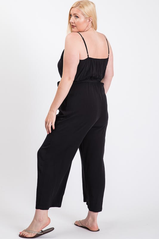 Summertime Poly Linen Jumpsuit - Black - Back